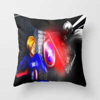 fight Throw Pillows featuring Fight! by Momo Aiko