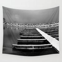 marina Wall Tapestries featuring Empty marina by Reimerpics