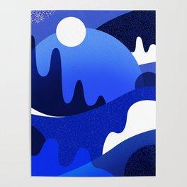 Terrazzo landscape blue night Poster