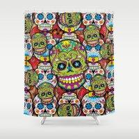 sugar skulls Shower Curtains featuring Sugar Skulls by Spooky Dooky