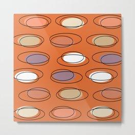 Mid Century Modern Ovals Scribbles Orange Metal Print