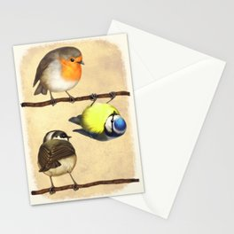 Three Little Birbs - Brown Stationery Cards