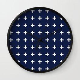 Navy Blue Swiss Cross Minimal Wall Clock