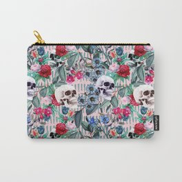 Flowers and Skulls (Pink) Carry-All Pouch