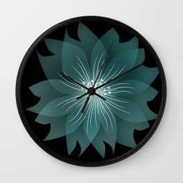 Blue flower on a black background . Wall Clock