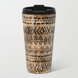 Ancient  Gold and Black Tribal Ethnic  Pattern Travel Mug