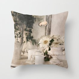 Shabby Charme Stillife with candle Throw Pillow