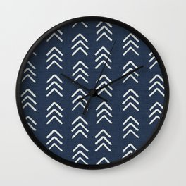 Denim and soft white brushed arrow heads pattern with textured cloth Wall Clock