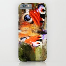 Peacock Butterfly On Abstracted Background iPhone Case