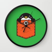 pocket Wall Clocks featuring Pocket Penguin by Steven Toang