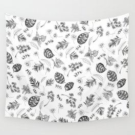 Scattered Garden Herbs, Black and White Wall Tapestry