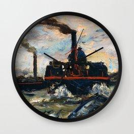 Charles-Francois Daubigny - River Boat - Digital Remastered Edition Wall Clock