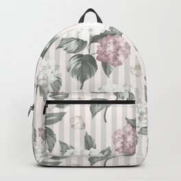 Bohemian pastel pink green floral stripes pattern Backpack