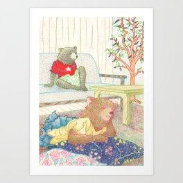 Everyday Animals- Little Bears lounge around Art Print