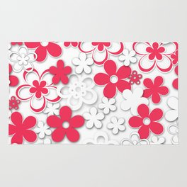 Red and white paper flowers 2 Rug