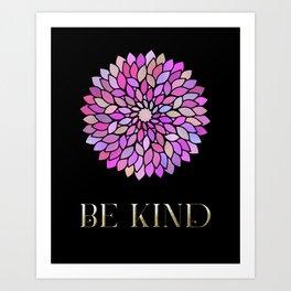 Be Kind Purple Mandala Art Inspirational Quote Art Print