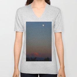Mount Rainier Moon Rise Unisex V-Neck