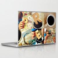 "garfield Laptop & iPad Skins featuring Woodblock Series, ""Process"" by Amelia Jane Jasinski"