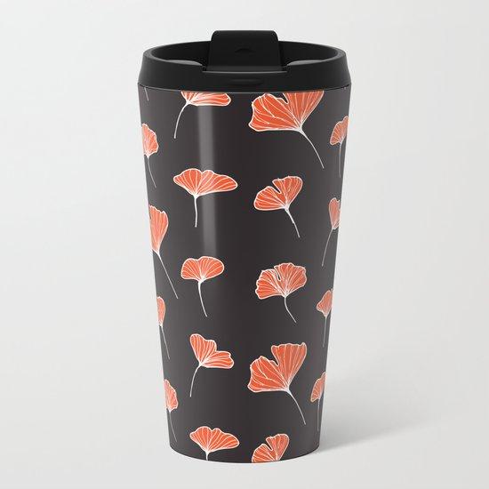 Ginkgo Biloba Leaves Pattern Dark #society6 #decor #buyart Metal Travel Mug