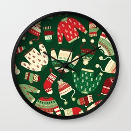 Knitted Winter Clothes Pattern Wall Clock