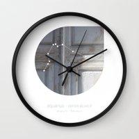 aquarius Wall Clocks featuring Aquarius by bialakura