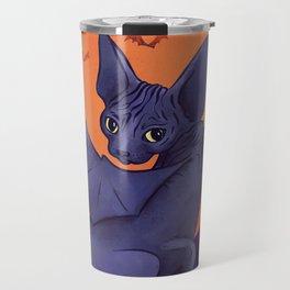 Black Bat Sphynx Kitten - Halloween Art Travel Mug