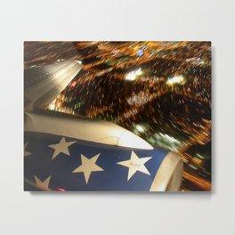 Airliner Wing at Night Metal Print