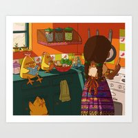 cooking Art Prints featuring Cooking by Flor De Vita
