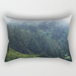 Oregon forest, foggy forest, oregon coast, green forest, nature, moody forest, moody landscape Rectangular Pillow