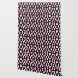 Golden Retrievers on Navy Wallpaper