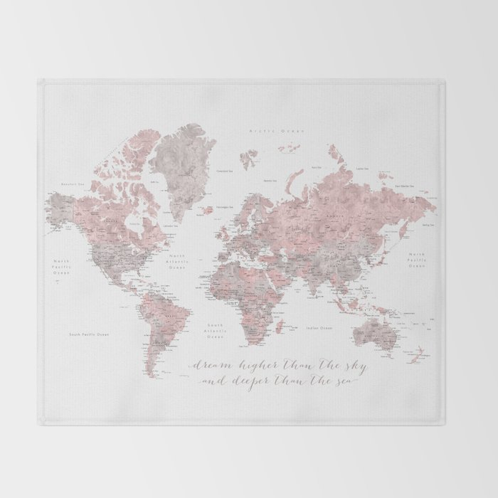 Inspirational detailed world map in dusty pink and gray Throw Blanket