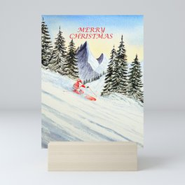 Merry Christmas with Skiing Santa Mini Art Print