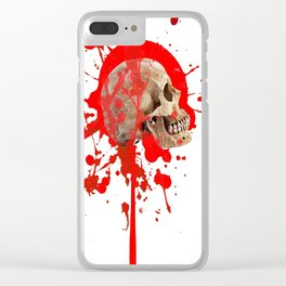WHITE RED EXPLODING BLOODY SKULL HALLOWEEN  ART Clear iPhone Case