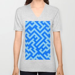 Baby Blue and Brandeis Blue Diagonal Labyrinth Unisex V-Neck
