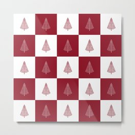 Red & White Christmas Tree Checkered Pattern Metal Print