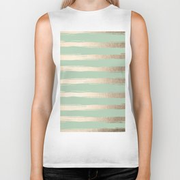 Simply Brushed Stripes White Gold Sands on Pastel Cactus Green Biker Tank