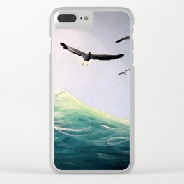 Seaguls Soaring with the Ocean Waves Clear iPhone Case