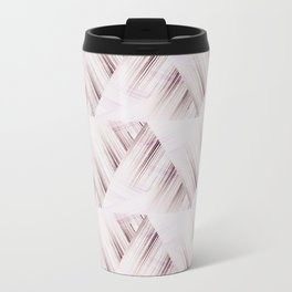 Abstract geometric pattern.Pinkish beige striped triangles . Metal Travel Mug