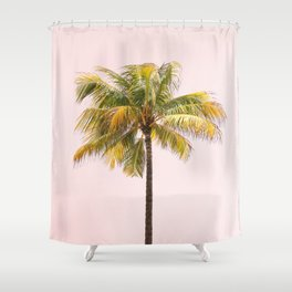 Palm Tree Photography   Pink Sunrise   Summer Vibes   Landscape   Nature   Beach Shower Curtain