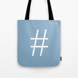 number sign on placid blue color background Tote Bag