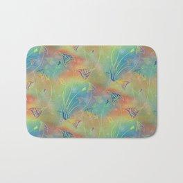 Rainbow Sparkles Leaves Flowers Bath Mat