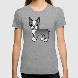 Blue Boston Terrier Cute Cartoon Illustration T-shirt