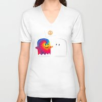 hippie V-neck T-shirts featuring Hippie ghost by Picomodi