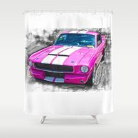 mustang Shower Curtains featuring Pink Mustang  by Paul Stephenson