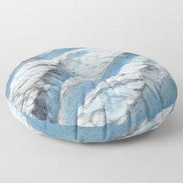 Don't Fall! Alaskan Glacier's Dangerous Blue Ice Crevasses Floor Pillow