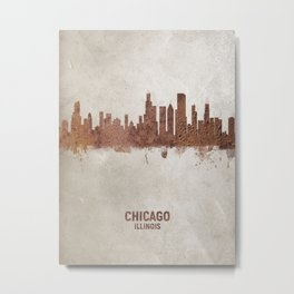 Chicago Illinois Rust Skyline Metal Print