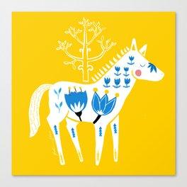 Folk horse on yellow Canvas Print