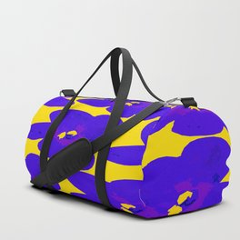 Blue Retro Flowers Yellow Background #society6 #decor #buyart Duffle Bag