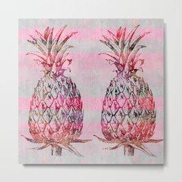 pink pineapple graphic mixed media art Metal Print