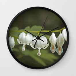 White Bleeding Hearts with Green Wall Clock